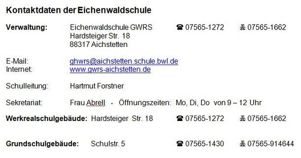Kontaktdaten der Eichenwaldschule GWRS Aichstetten neu